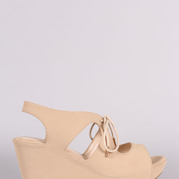 Bamboo Nubuck Cutout Lace-Up Platform Wedge