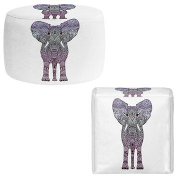 Foot Stools Poufs Chairs Round or Square from DiaNoche Designs by Monika Strigel Home Decor and Unique Bedroom Ideas - Elephant Purple