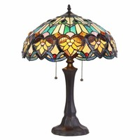 "KENDALL Tiffany-style 2 Light Victorian Table Lamp 16"" Shade"