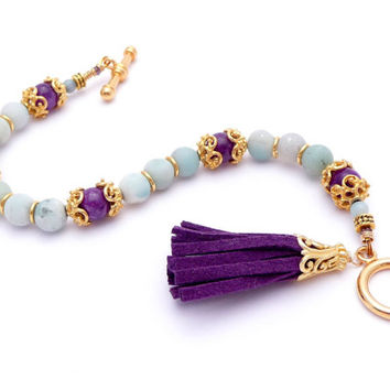 Matte Amazonite Tassel Bracelet – Aqua Blue Gemstone Gold Plated Bracelet – Purple Suede Leather Tassel – Boho Gold Bracelet
