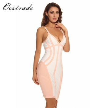 New Arrival Hot Fashion Summer Collections 2017 Womens White and Nude Strappy Illusion Cut Sexy V Neck Bodycon Bandage Dresses