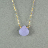 Beautiful Lavender Jade Heart Necklace, Natural Stone Bead, 14K Gold Filled Chain, Wonderful Jewelry