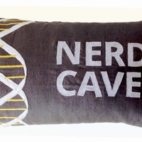 "Amore Beaute Decorative Throw Pillow Cover with Nerd Cave and DNA Design - Handcrafted Custom Pillowcase in Gray Linen with White and Yellow Thread Embroidered Pattern - 12"" X 20"" - Gifts - Gift for Him"