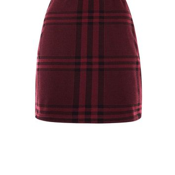 Burgundy Wide Check Jersey Tube Skirt | New Look