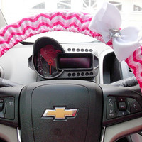 Pink Chevron Steering Wheel Cover with Bow