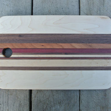 Maple Cutting Board with Multi-Wood Accent Stripe
