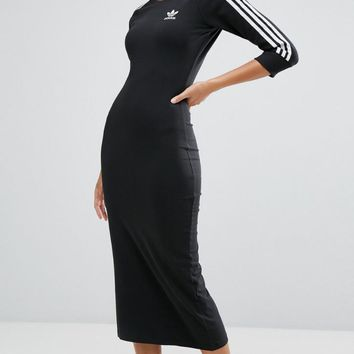 Tagre™ Adidas Black Three Stripe Midi Dress