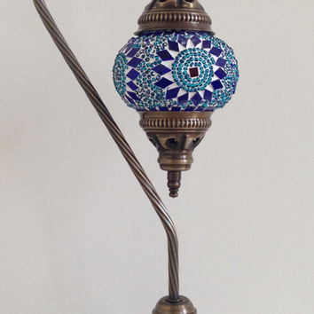 Blue Green Turkish mosaic lamp with vintage look base, Nightstand Lamp, Turkish lamp, Night Light, Midcentury Lamp, Moroccan Lights, Light