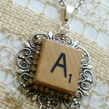 Scrabble Tile Letter A Necklace, A Jewelry, Scrabble Piece, Silver Filigree Setting, Silver Plated Chain, 24 inch Chain, Rhinestone Letter A