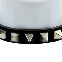 """Black Leather 1"""" Pyramid Spike Gothic Choker Necklace"""