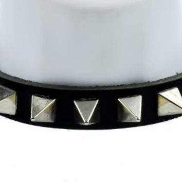 "Black Leather 1"" Pyramid Spike Gothic Choker Necklace"