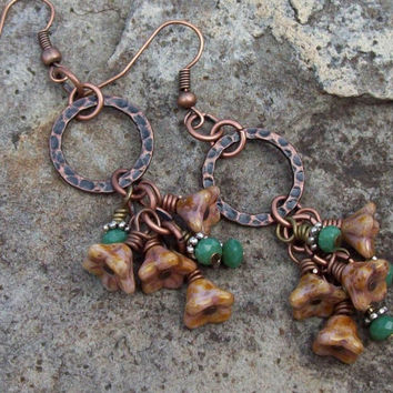 Copper Dangle Earrings - Cluster Bellflowers - Rustic Earrings - Artisan Jewelry