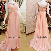 peach prom dress, long prom dress, formal prom dress, cap sleeve prom dress, chiffon prom dress, long prom dress, RE242