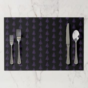 Merry Christmas Tree Pattern Purple Metallic Placemat