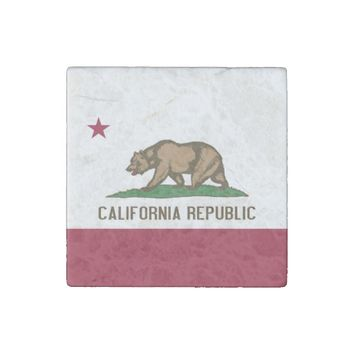 Patriotic stone magnet with Flag of California