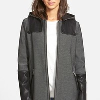 Women's BCBGeneration Faux Leather Trim Soft Shell Coat with Removable Hood ,