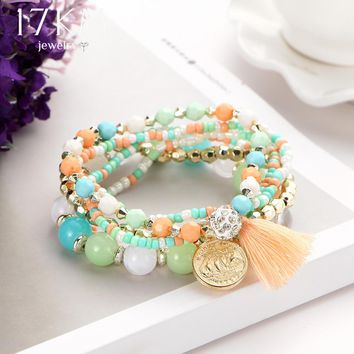 17KM 2017 New Crystal Multicolor Beads Weave Bracelet Tassel Multilayer Steampunk Love Bracelets For Women Pulseira Accessories