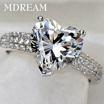silver Color ring with 3 Carat AAA zircon for women wedding fashion heart style rings jewelry 7 8 9 10 LSR048