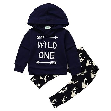 2PCS Set Baby Clothes Infant Newborn Bebes Long Sleeve Hooded Sweatshirt Wild One Tops + Deer Pant Trouser Outfit Kids Clothing