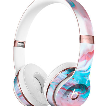 Marbleized Teal and Pink V2 Full-Body Skin Kit for the Beats by Dre Solo 3 Wireless Headphones