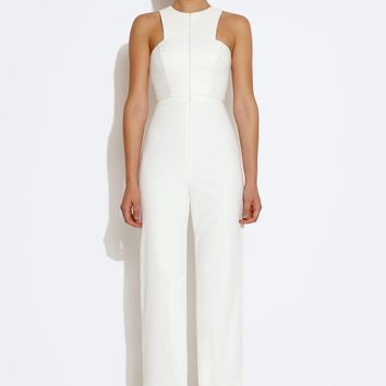 Crane Front Zip Jumpsuit - Cream
