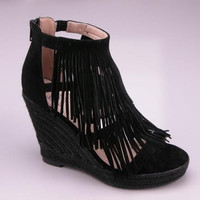 Layered Fringe Wedge Sandals - Black
