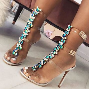 Fashionable and colorful waterdrill chain transparent high-heeled sandals