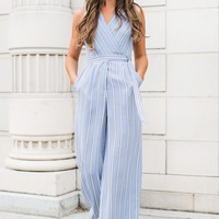 Rise To The Occasion Striped Jumpsuit (Blue/Stripe)