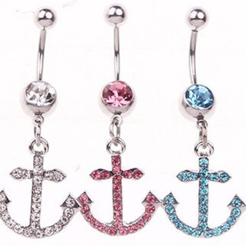 New Charming Dangle Crystal Navel Belly Ring Bling Barbell Button Ring Piercing Body Jewelry = 4804927428