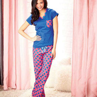 Women's Knit 100% Cotton Pajamas.  Pink and Blue Dots.