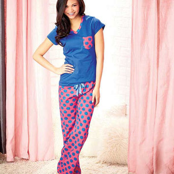 100% Cotton Knit Pajama Set-Polka Dots