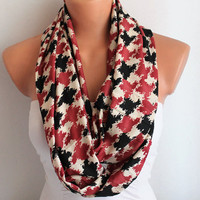 Infinity Scarf Loop Scarf Circle Scarf Cowl Scarf Soft and Lightweight Black and Rose