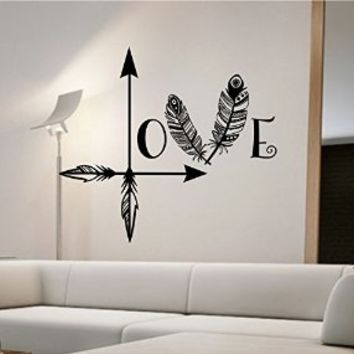 Love Arrow Wall Decal Vinyl Sticker Art Home Decor Feathers Wall Decoration
