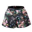 Black Floral Print Wide Legs Shorts