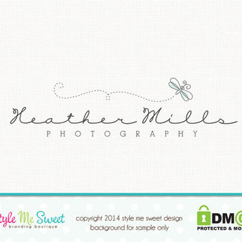 Premade Dragonfly Logo Photography Logo Small Business Logo Hand Drawn Watermark Logo