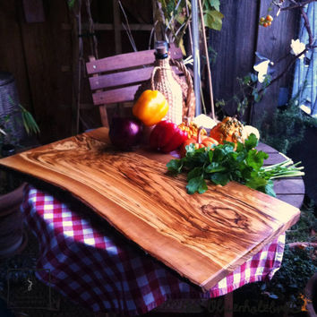 #Olive #Wood #Cutting #Board rectangular - #serving #board for #barbecues very big - one side natural edge