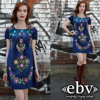 Vintage 70s Navy Mexican Embroidered Hippie Boho Mini Dress S M