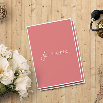 "Valentine's Day Card for her, Je t'aime Card, Love Card, Digital Printable Card, 5""x7"" Instant Download - Love Digital Print - on SALE 50%"