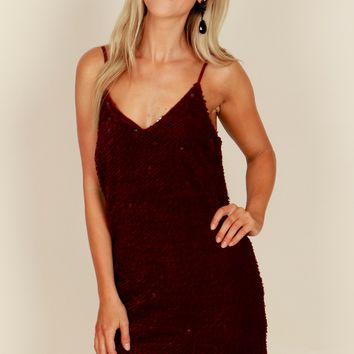 Velvet Sequin Tank Dress Wine