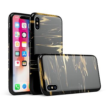 Black & Gold Marble Swirl V2 - iPhone X Swappable Hybrid Case