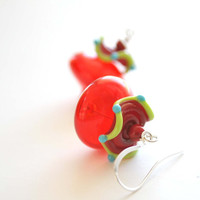 Red Carnival Glass Earrings by bstrung on Etsy