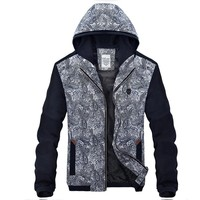 Slim Contrast Color Men Jacket Spring Autumn Casual Hooded