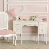 8450 - Stunning Vintage 5 Drawer Vanity Desk in White - $850 - The Bella Cottage