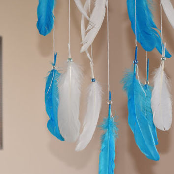 Feather Baby Mobile, Boho Feather Decor, Nursery mobile, Blue and White Dreamcatcher, Owl Turquoise stone, Baby Mobile,White Nursery Decor.