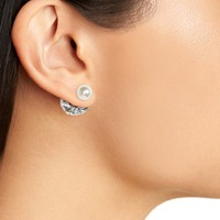 Cara Front Back Crystal & Imitation Pearl Earrings | Nordstrom