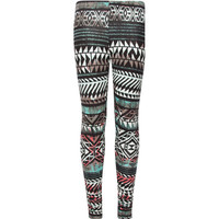 Full Tilt Ethnic Print Girls Leggings Black Combo  In Sizes