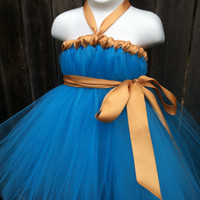 Brave Inspired Merida Tutu Dress with Golden Satin Sash