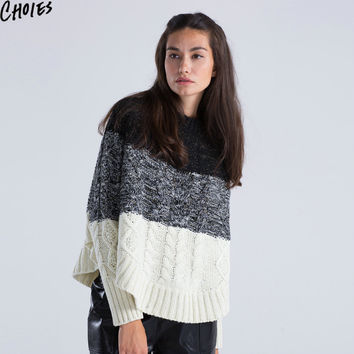 Women Sweater Cable Knitted Colorblock Cape Poncho Oversized Batwing Long Sleeve Loose Casual Jumper Pullover 2017 Autumn Fall