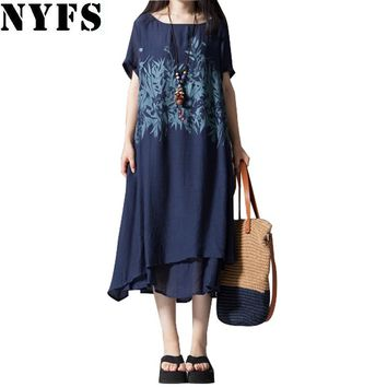 New Summer dress short Sleeve Printing Cotton Linen Ladies Casual Vintage women dress Female Plus Size Vestidos Robe