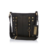 Black leather mini zipped messenger bag